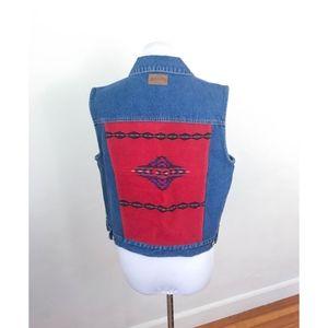 Vintage Pendleton Denim Vest with Woven Wool Back